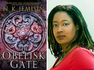 Obelisk Gate book cover and picture of N.K. Jemisin