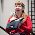 Puppeteer Stacey Gordon laughing at closing ceremonies of Capricon 36