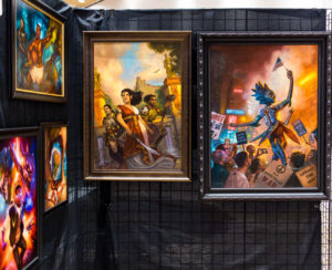 A display of Capricon 36 Artist Guest of Honor Eric Wilkerson's art in the Art Show