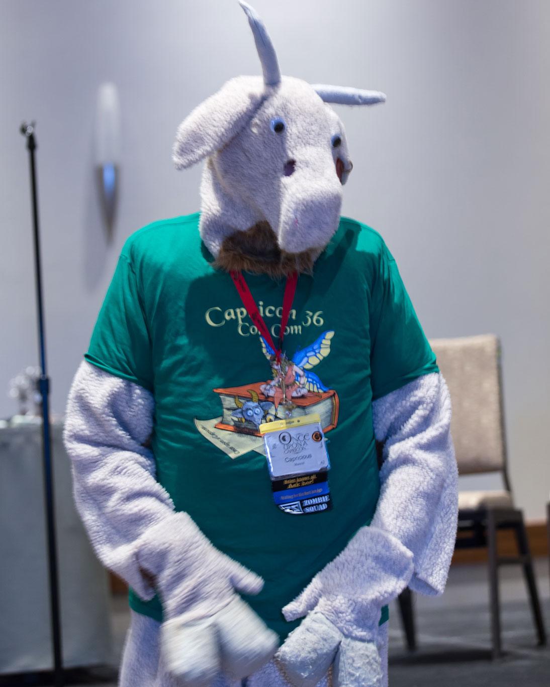 Capricious wearing the Capricon 36 Con Com shirt.